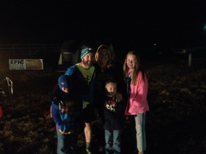 My family there to greet me at the finish line at 5am in the cold morning